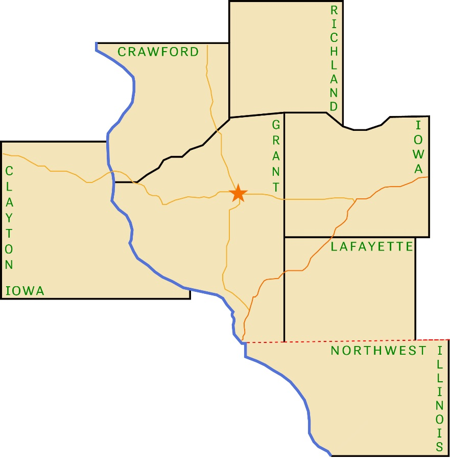 County Map of New Horizons service area.